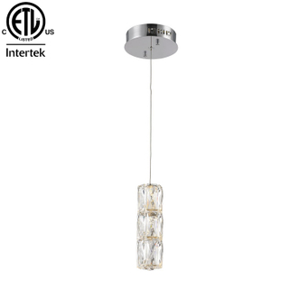 Modern Stainless Steel Crystal Hanging Lamp Chrome Three Crystal Chandelier LED Pendant Light