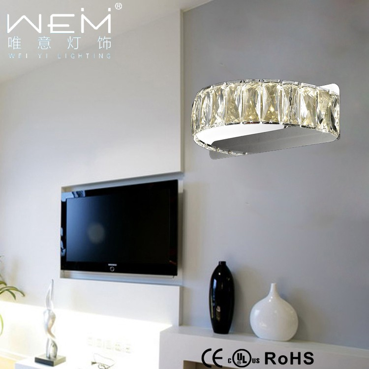 Popular Bedroom Crystal Wall Lamp Simple Modern Clear Crystal Decorative Indoor Led Wall Lamp
