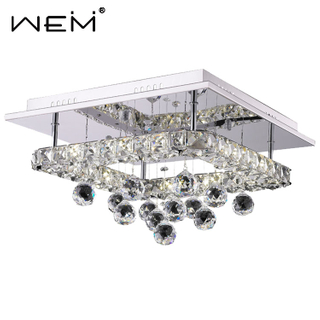 New Design Square Hight Quality Crystal Ceiling Light Fixtures Lustre Moderne Led Ceiling Lamps